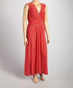 Look at this Star Vixen Red & White Polka Dot Surplice Dress - Plus on #zulily today!