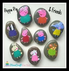 23 Clever DIY Christmas Decoration Ideas By Crafty Panda Pebble Painting, Pebble Art, Stone Painting, Rock Painting Ideas Easy, Rock Painting Designs, Pig Crafts, Rock Crafts, Peppa Pig Painting, Peppa Pig Gifts