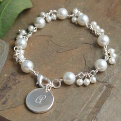 Personalized Romantic Pearl Bracelet (Cathys Concepts B9270SI)   Buy at Wedding Favors Unlimited (http://www.weddingfavorsunlimited.com/personalized_romantic_pearl_bracelet.html).