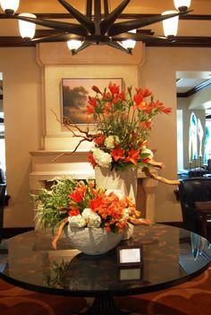"""Our lobby floral arrangement screams """"HOOK EM"""" in honor of UT graduation weekend! *The Flower Studio"""