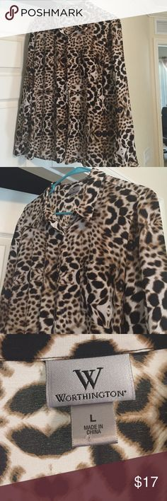 BEAUTIFUL ANIMAL PRINT WORK/DRESS BLOUSE Great Condition Worthington Tops Blouses