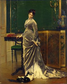 A Playful Moment by Gustave Léonard de Jonghe, ca 1870's Bustles and cats: two of my favorite things
