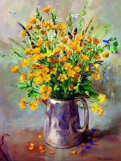 Buttercups in a Silver Coffee Pot ~ Limited Edition Print by Mill House Fine Art, Publishers of Anne Cotterill Flower Art . Oil Painting Flowers, Painting & Drawing, House Painting, Watercolor Illustration, Watercolor Art, Flower Artists, Arte Floral, Fine Art, Flower Pictures