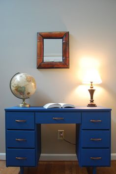 GORGEOUS mid-century desk, painted in Napoleonic Blue chalk paint by Annie Sloan. Love the lines, love the saturated color, love the copper hardware!