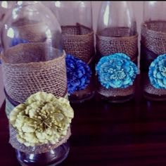 Wrap burlap around a flower vase, flower on burlap and fill base with water and a floating candle. Our Wedding, Dream Wedding, Wedding Stuff, Summer Wedding Decorations, Summer Weddings, Jar Art, Pony Party, 50th Wedding Anniversary, Party Centerpieces