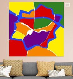grafisch in beeld gebracht de plattegrond van het oude centrum van Zwolle in regenboog kleuren. Geel, paars, rood, groen, oranje, blauw. Canvas, Prints, Poster, Tela, Canvases, Billboard