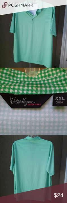 """WALTER HAGEN Mini Check Quick Dry Golf Shirt Fresh green and bright white. Split at side seams. 100% polyester. Approx meas laid flat: U-U 27"""" across, Length 32"""", Sleeve length from collar seam over shoulder 18.75"""", opening at bottom 27.5"""" across. Clean inside and out, no snags, ready to wear. Walter Hagen Shirts Polos"""