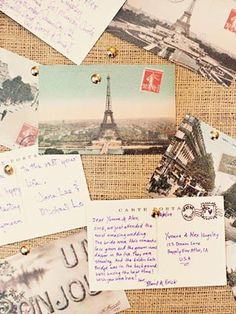 Instead of a guestbook, leave vintage postcards for guests to leave messages for the bride and groom