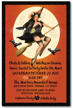 Pin Up Witch Halloween Party Invitations Vintage Costume Invites For Adults
