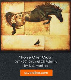 Small Paintings, Large Painting, Animal Paintings, Figure Painting, Original Artwork, Original Paintings, Appaloosa, Equine Art, Crow