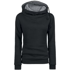 Hooded sweater with soft inside, high-closing hood, side cords and slide-in side pockets.