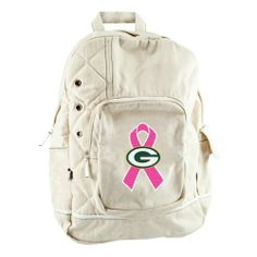 "NFL Green Bay Packers BCA Old School Backpack by Littlearth. $30.60. A Crucial Catch-Annual Screening Saves Lives. The NFL and Littlearth are supporting the American Cancer Society in its efforts to create a world with less breast cancer and more birthdays. Please visit nfl.com/pink to learn more. Measures 12.5"" x 6"" x 17.5"". 80% cotton, 20% polyester. #4 patch. Hand wash, line dry. Quilted detailing; large side pocket with snap closure; large front pocket with organizer and zip..."
