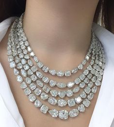 Diamond Jewelry Trying on a necklace composed of 176 diamonds with a total weight of over 340 carats Diamond Pendant Necklace, Diamond Jewelry, Diamond Necklaces, Diamond Bangle, Necklace Set, Emerald Earrings, Silver Bangle Bracelets, Jewelry Necklaces, Pearl Necklaces