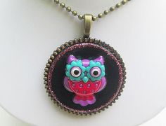 Owl Necklace Owl Jewelry Collage Pendant Collage by Garnishments