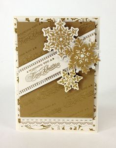 Anna Griffin card in gold with gold heat embossed message Christmas Card Crafts, Xmas Cards, Handmade Christmas, Holiday Cards, Christmas Greetings, Merry Christmas, Christmas Sentiments, Card Sentiments, Cricut Winter Wonderland