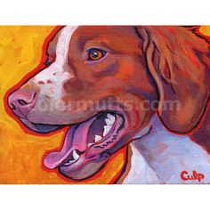 BRITTANY SPANIEL Dog Original Art