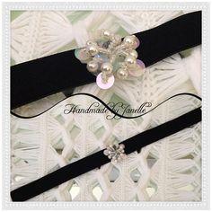 Black Velvet Choker With Sequin &Bead Centrepiece Handmade ON SALE