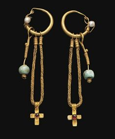 ethnic Ꮎ (byzantine gold pearl garnet cross earrings, century ce courtesy christie's) Byzantine Gold, Byzantine Jewelry, Medieval Jewelry, Ancient Jewelry, Old Jewelry, Tribal Jewelry, Jewelry Art, Antique Jewelry, Jewelery