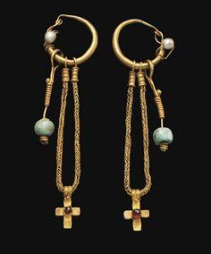 ethnic Ꮎ (byzantine gold pearl garnet cross earrings, century ce courtesy christie's) Byzantine Gold, Byzantine Jewelry, Medieval Jewelry, Ancient Jewelry, Old Jewelry, Tribal Jewelry, Jewelry Art, Antique Jewelry, Vintage Jewelry