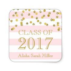 #party - #Pink Stripe Gold Confetti Graduation Class of 2017 Square Sticker