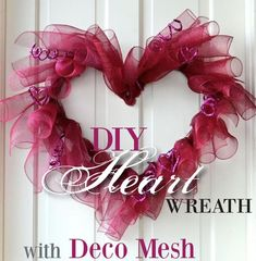 diy wreaths with deco mesh and ribbon | ... DIY Wreaths / DIY: Making a Valentine Heart Wreath with Deco Mesh