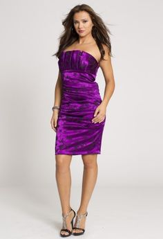 Short Dresses - Flower Print Short Stretch Satin Dress from Camille La Vie and Group USA