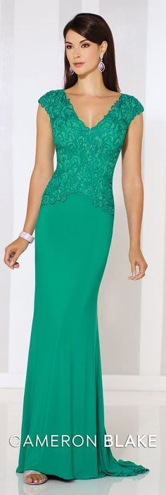 Cameron Blake 116667 Jersey and lace sheath with cap sleeves, V-neckline, lace and ribbon work bodice with inverted Basque waist, sweep train. Matching shawl in Formal Evening Dresses, Elegant Dresses, Pretty Dresses, Evening Gowns, Bridesmaid Dresses, Prom Dresses, Bridesmaids, Mom Dress, Bride Gowns