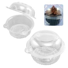 Easyfashion 50 x Plastic Single Individual Cupcake Muffin Dome Holders Cases Boxes Cups Pods Easyfashion