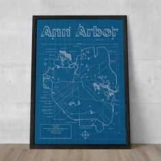 Ann Arbor Map / 18 X 24 Print / Ann Arbor Blueprint / Wall Art / Anniversary…