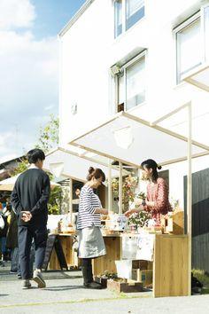 「つむじ、暮らしの文化祭」で地域のつながりを実感!   100 Taiken   AIBA 100 Story Tent Design, Kiosk Design, Booth Design, Retail Design, Mobile Kiosk, Stand Feria, Food Cart Design, Pop Up Market, Market Stalls