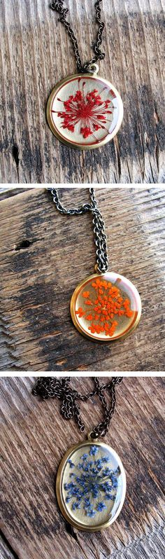 Pressed Queen Anne's Lace Flower necklaces