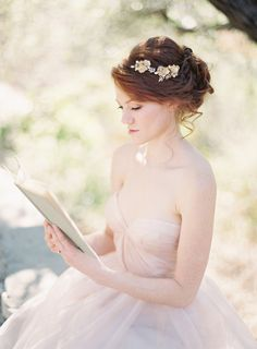 SIBO Designs Spring 2013 Collection - Bridal hair Piece,dress is a dream Romantic Wedding Hair, Wedding Hair And Makeup, Dream Wedding, Romantic Updo, Wedding White, Hair Wedding, Spring Wedding, Tulle Wedding Gown, Wedding Dresses