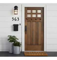 """Excellent Screen Farmhouse Front Door entrance Suggestions Interior designers often make reference to art as """"the jewelry of the house,"""" but when it comes Wooden Front Doors, Front Door Entrance, House Front Door, Front Door Colors, The Doors, House With Porch, Front Door Decor, Entry Doors, Garage Doors"""