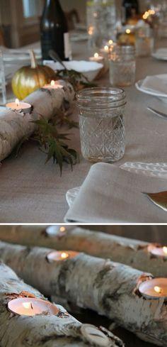 Birch Log Fire Light   25 DIY Winter Wedding Ideas on a Budget   DIY Winter Wedding Decorations