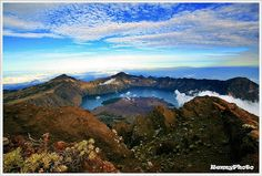 Peak of Mt. Rinjani, Lombok Island - Indonesia Beautiful View from on the top of Mt. Rinjani with Segara Anak Lake.