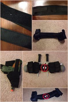 Deadpool DIY Utility Belt and Thigh Gun Holster - used nylon belt fabric, black elastic, Velcro, dollar store cell phone holders and clay for the buckle which is glued to the belt