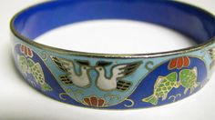 Deep Blue Love Birds Bangle Bracelet by Suwanee on Etsy