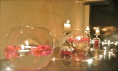 Candles and flowers !!!!!!!!!!midnight surprise for the birthday girl!!!!!!