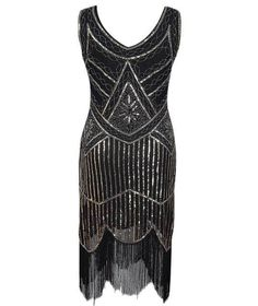8831256c3 Off White Floral Fan Vintage LOOK 1920s Flapper Gatsby Sequin Fringe NEW  YEARS EVE Party Dress S-XL