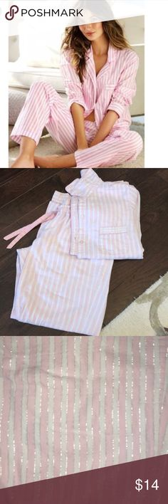 Victoria's Secret Pajamas Pink and white with silver in between the stripes. Cotton pjs. Has bleach stain on lower left leg-see photos Victoria's Secret Intimates & Sleepwear Pajamas