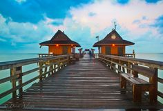 Naples Florida Pier. I have only been here once and would return. The water was pretty and it was said that the dolphins visit here often. I saw them with my cousins.