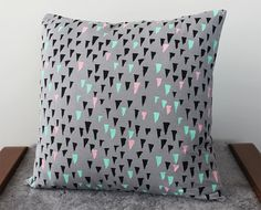 Hand Printed 'Stalactite' Pillow in Black, Mint, Pink on Grey