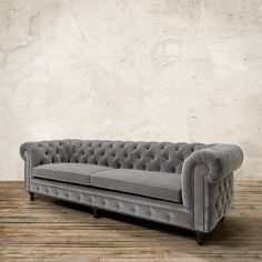 """Warwick 109"""" Tufted Upholstered Sofa in Lourdes Fog ($4,899) ❤ liked on Polyvore featuring home, furniture, sofas, fabric sofas, upholstered couch, upholstered furniture, light grey sofa and tufted upholstered sofa"""