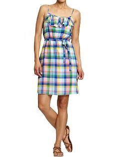 what an adorable summer dress! Old Navy - Women's Printed-Gauze Tie-Waist Sundresses