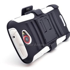 Click Image to Browse: $9.95 Black White Transfusion Kickstand Holster Double Layer Hard Case Gel Cover For HTC One S