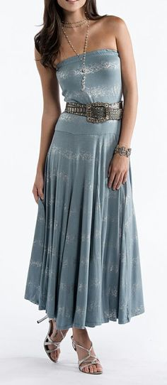 Blue Metallic Stripe Convertible Skirt