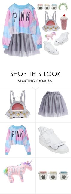 """Space Unicorn 👾"" by sellyankumala ❤ liked on Polyvore featuring Charlotte Olympia, Chicwish, Roger Vivier, Current Mood, yunotme, grunge, pastel, kawaii and grungeboutique"
