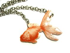 Goldfish Necklace by WriteBackSoon on Etsy, $16.00