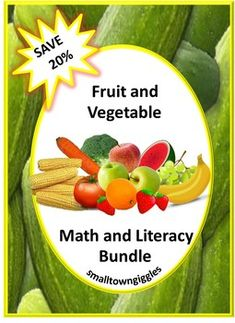 Fruit and Vegetable Letter Matching, Shape Matching, Math Literacy, Fun Math, Teaching Themes, Teaching Resources, Spring Activities, Fun Activities, Cut And Paste Worksheets