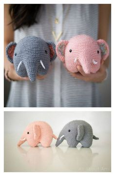 Crochet Diy Easy Crochet Amigurumi Elephant Free Pattern - Enormous cuddly crochet elephants are sure to be a hit. These Adorable Crochet Elephant Amigurumi Free Patterns are just what you need to make one. Crochet Diy, Crochet Simple, Crochet Ideas, Easy Crochet Animals, Crochet Pillow, Crochet Animals Patterns Free, Crotchet Animals, Diy Crochet Projects, Crochet Afghans